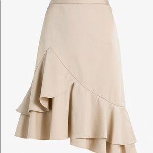 Banana Republic Golden Beige Flounce Skirt EUC 10